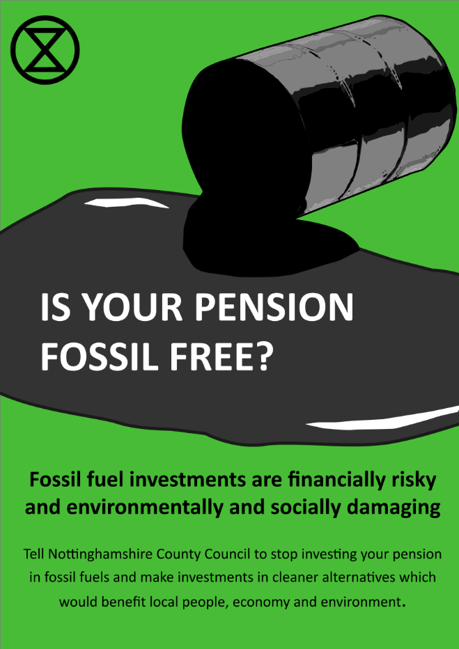 Leaflet, front cover: is your pension fossil free?