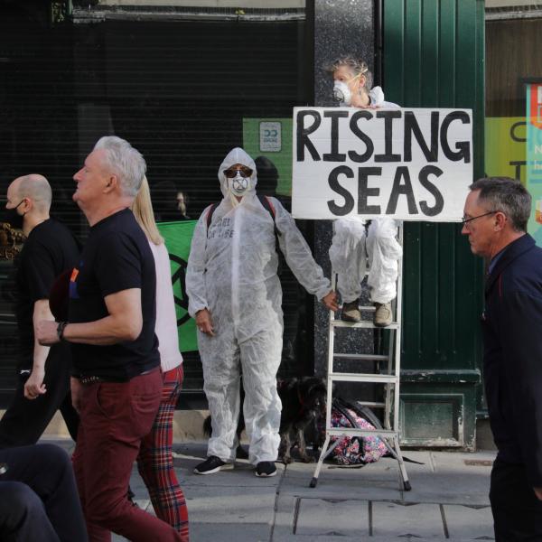 rebel on step ladder holding sign - rising seas